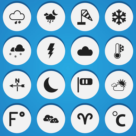 Set Of 16 Editable Air Icons. Includes Symbols Such As Freeze, Celcius Degree, Fahrenheit And More