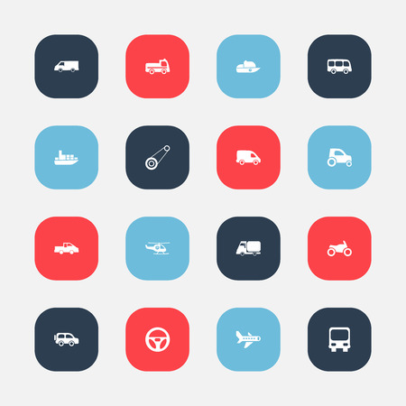 carrying: Set Of 16 Editable Transportation Icons. Includes Symbols Such As Drive Control, Family Jeep, Part Of Car And More