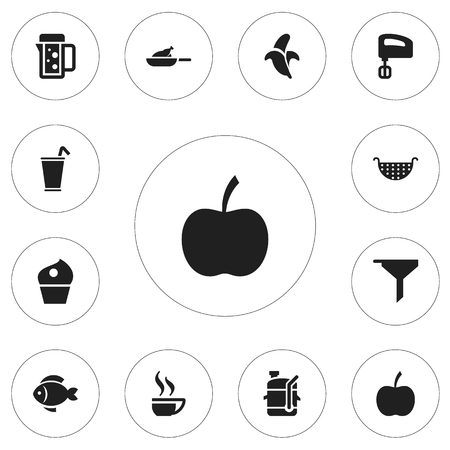 Set Of 12 Editable Cooking Icons. Includes Symbols Such As Strainer, Grill, Seafood And More