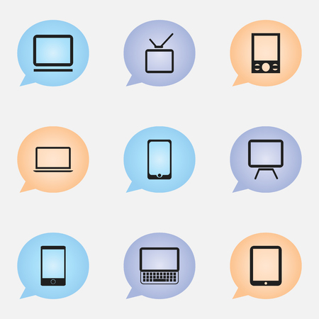 Set Of 9 Editable Devices Icons. Includes Symbols Such As Telephone, Clavier, Music Phone And More Vector Illustration