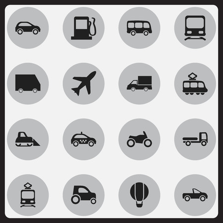 tramcar: Set Of 16 Editable Transport Icons. Includes Symbols Such As Part Of Car, Tramcar, Streetcar And More