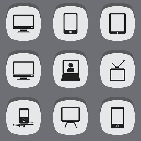 appliances: Set Of 9 Editable Devices Icons. Includes Symbols Such As Telephone, Monitor, Telly And More Illustration