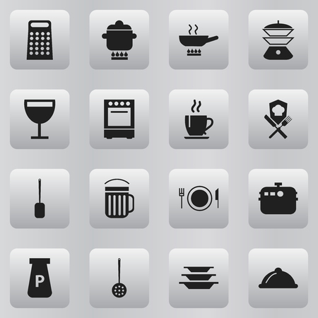 appliances: Set Of 16 Editable Restaurant Icons. Includes Symbols Such As Cookware, Plate, Ale And More