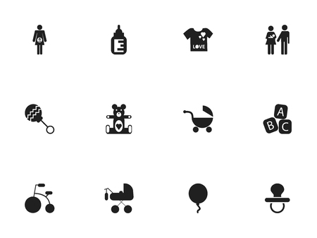 soft pedal: Set Of 12 Editable Baby Icons. Includes Symbols Such As Lineage, Pacifier, Stroller And More