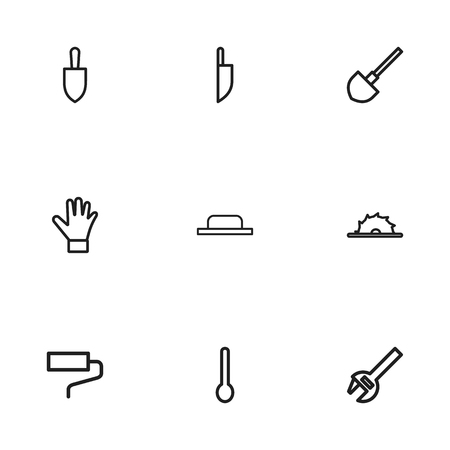 tablespoon: Set Of 9 Editable Equipment Outline Icons. Includes Symbols Such As Tablespoon, Spade, Knife And More