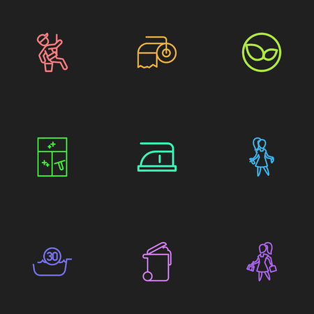Set Of 9 Editable Cleanup Outline Icons. Includes Symbols Such As Window Cleaner, Brooming, 30 Degrees And More