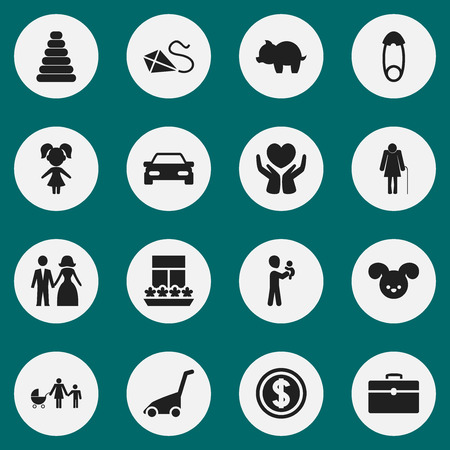 Set Of 16 Editable Kin Icons. Includes Symbols Such As Balcony, Tower, Married And More