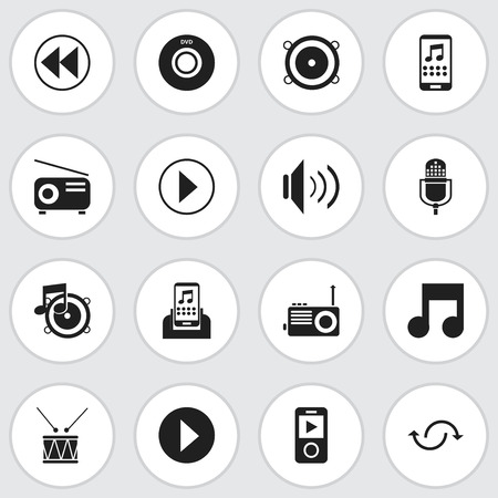 Set Of 16 Editable Mp3 Icons. Includes Symbols Such As Volume, Digital Versatile Disc, Smartphone And More