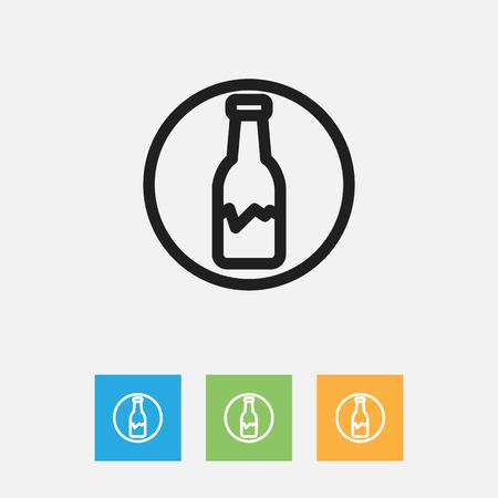 Vector Illustration Of Cleaning Symbol On Broken Bottle Outline