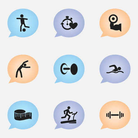 Set Of 9 Editable Sport Icons. Includes Symbols Such As Training Pool, Heavy Training, Cloth Ruler And More Çizim
