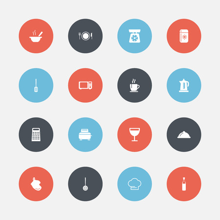 Set Of 16 Editable Cook Icons. Includes Symbols Such As Potholder, Bowl, Wave Oven And More