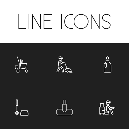 Set Of 6 Editable Cleaning Outline Icons. Includes Symbols Such As Sweeper, Washing Liquid, Toilet Brush And More