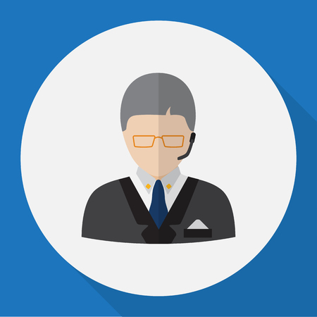 dispatcher: Vector Illustration Of Job Symbol On Dispatcher Flat Icon