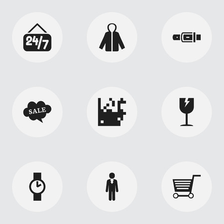 waistband: Set Of 9 Editable Trade Icons. Includes Symbols Such As Open Everyday, Pushcart, Identification And More