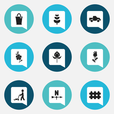 camion: Set Of 9 Editable Agriculture Icons. Includes Symbols Such As Breeze Direction, Grass Cutting Machine, Leaves And More Illustration