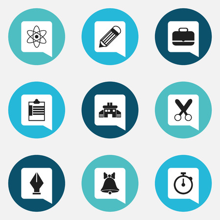 cutting: Set Of 9 Editable Education Icons. Includes Symbols Such As Nib, Cutting, Molecule And More Illustration