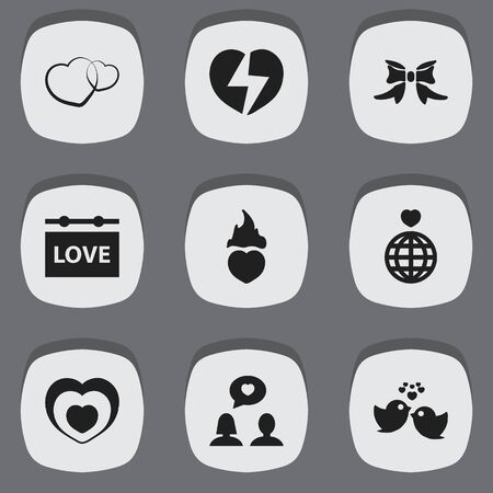 acquaintance: Set Of 9 Editable Love Icons. Includes Symbols Such As Butterfly, World, Heartbeat And More. Can Be Used For Web, Mobile, UI And Infographic Design.
