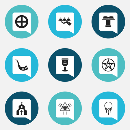Set Of 9 Editable Religion Icons. Includes Symbols Such As Pentagram, Tusk, Church And More. Can Be Used For Web, Mobile, UI And Infographic Design.