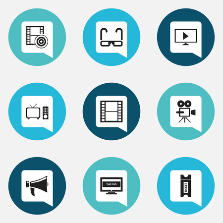 Zestaw 9 ikon edycji filmów. Obejmuje symbole, takie jak wideo początkowe, koniec, przezroczy i więcej. Może być używany w Internecie, telefonie komórkowym, interfejsie użytkownika i projektowaniu Infographic.