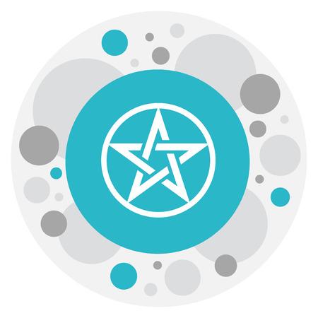 persuasion: Vector Illustration Of Religion Symbol On Baphomet Symbol Icon. Premium Quality Isolated Pentagram Element In Trendy Flat Style.