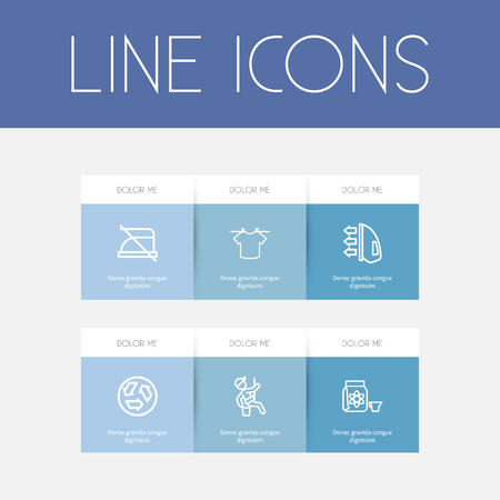 appliances: Set Of 6 Editable Cleanup Outline Icons. Includes Symbols Such As Window Cleaner, Dangerous Reagent, Ironing And More. Can Be Used For Web, Mobile, UI And Infographic Design.