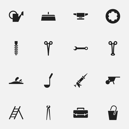 caulk: Set Of 16 Editable Instrument Icons. Includes Symbols Such As Surgical Scissors, Putty Knife, Handle. Can Be Used For Web, Mobile, UI And Infographic Design. Illustration