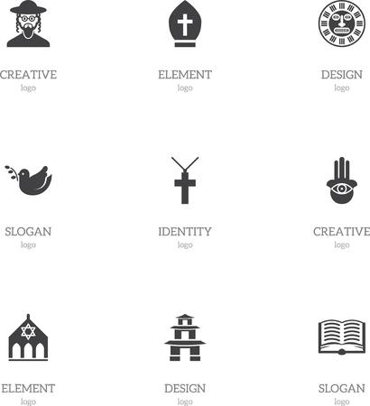 Ensemble de 9 icônes de foi modifiables. Inclut des symboles tels que le pigeon, le couvre-chef de pape, le masque tribal et plus. Peut être utilisé pour le Web, mobile, l'interface utilisateur et la conception infographique. Banque d'images - 82675052