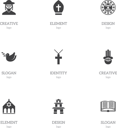 persuasion: Set Of 9 Editable Faith Icons. Includes Symbols Such As Pigeon, Pope Headwear, Tribal Mask And More. Can Be Used For Web, Mobile, UI And Infographic Design.