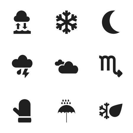 9 편집 가능한 날씨 아이콘의 집합입니다. 입자, 장갑, 안개 등의 기호가 포함됩니다. 웹, 모바일, UI 및 인포 그래픽 디자인에 사용할 수 있습니다.