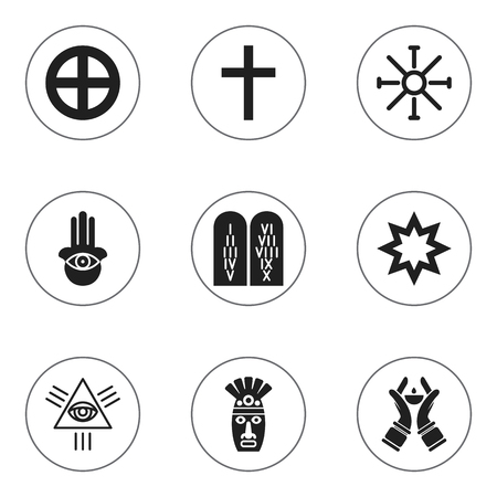 Set Of 9 Editable Religion Icons. Includes Symbols Such As Asterisk, Plus In Circle, Crucifix And More. Can Be Used For Web, Mobile, UI And Infographic Design.
