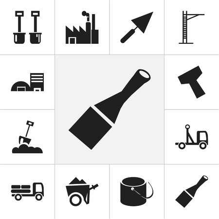 heavy construction: Set Of 12 Editable Building Icons. Includes Symbols Such As Pail, Power Plants, Plastering And More. Can Be Used For Web, Mobile, UI And Infographic Design.