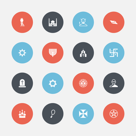 Set Of 16 Editable Religion Icons. Includes Symbols Such As Religious Sign, Asterisk, Hanukkah And More. Can Be Used For Web, Mobile, UI And Infographic Design. Illustration
