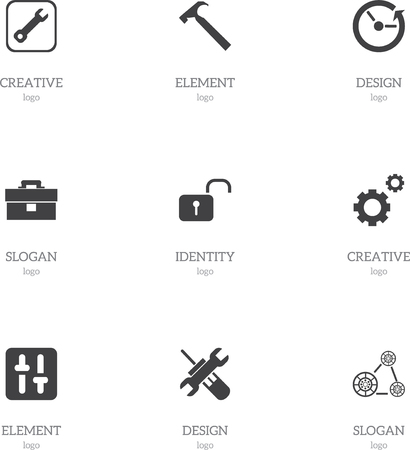 rackwheel: Set Of 9 Editable Tool Icons. Includes Symbols Such As Portfolio, Handle Hit, Equalizer. Can Be Used For Web, Mobile, UI And Infographic Design.