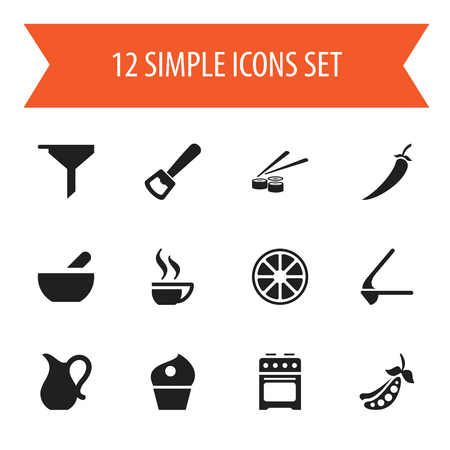 junk: Set Of 12 Editable Meal Icons. Includes Symbols Such As Filtering, Cake, Coffee Cup And More. Can Be Used For Web, Mobile, UI And Infographic Design. Illustration