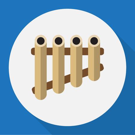 Ilustración Vectorial De Símbolo De La Canción En Icono De Pan Flat. Elemento aislado de la flauta de la calidad superior en estilo plano de moda.