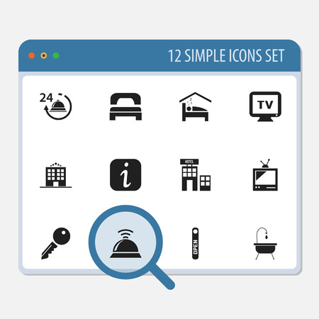 plaza: Set Of 12 Editable Motel Icons. Includes Symbols Such As Open Sign, Hotel, Service Bell And More. Can Be Used For Web, Mobile, UI And Infographic Design.