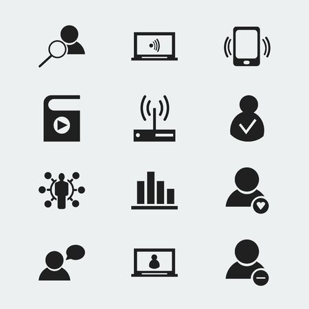 Set Of 12 Editable Internet Icons. Includes Symbols Such As Lovely Profile, Account, Skill And More. Can Be Used For Web, Mobile, UI And Infographic Design.