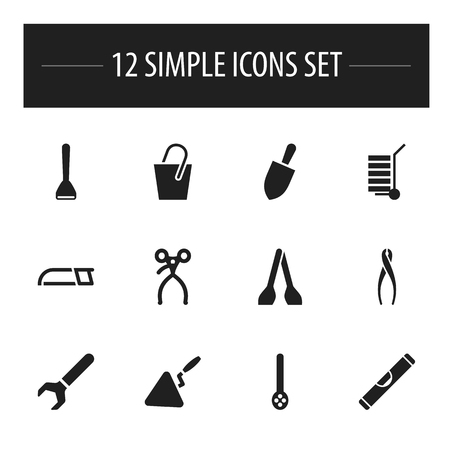skimmer: Set Of 12 Editable Instrument Icons. Includes Symbols Such As Skimmer, Hacksaw, Cuisine Utensil And More. Can Be Used For Web, Mobile, UI And Infographic Design.