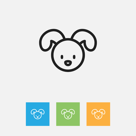 Vector Illustration Of Folks Symbol On Puppy Outline. Premium Quality Isolated Dog Element In Trendy Flat Style.