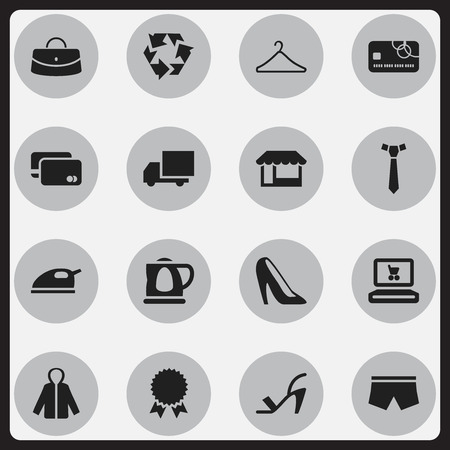 suspender: Set Of 16 Editable Trade Icons. Includes Symbols Such As Loan Card, Heel Cothurnus, Reuse And More. Can Be Used For Web, Mobile, UI And Infographic Design.