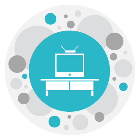 Vector Illustration Of Furnishings Symbol On Television Icon. Premium Quality Isolated Tv Element In Trendy Flat Style.