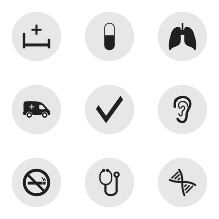 Set Of 9 Editable Care Icons. Includes Symbols Such As Genome, Mark, Doctor Tool And More. Can Be Used For Web, Mobile, UI And Infographic Design.