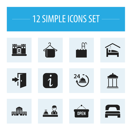 apartment bell: Set Of 12 Editable Motel Icons. Includes Symbols Such As Opened Placard, Fortress, Sleeping And More. Can Be Used For Web, Mobile, UI And Infographic Design.
