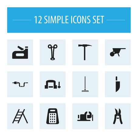 pruning shears: Set Of 12 Editable Instrument Icons. Includes Symbols Such As Clamp, Pipe, Pickaxes And More