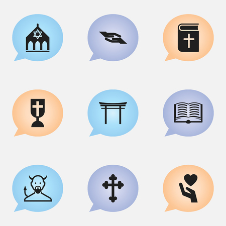 Set Of 9 Editable Dyne Icons. Includes Symbols Such As Shinto, Crucifix, Save Love And More