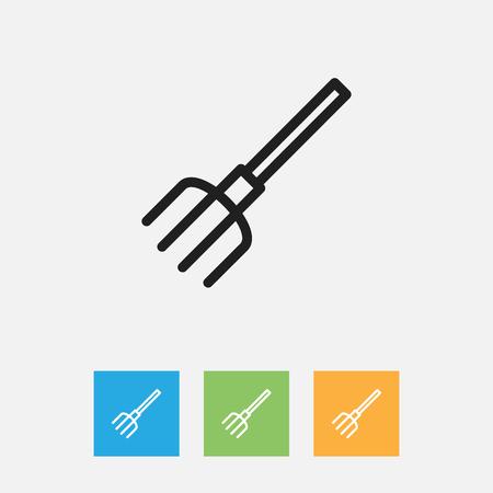 Vector Illustration Of Instrument Symbol On Hay Fork Outline