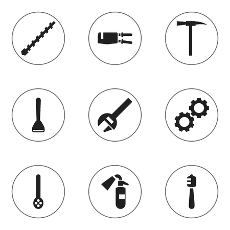 skimmer: Set Of 9 Editable Apparatus Icons. Includes Symbols Such As Honey Stick, Pickaxes, Sprinkler And More