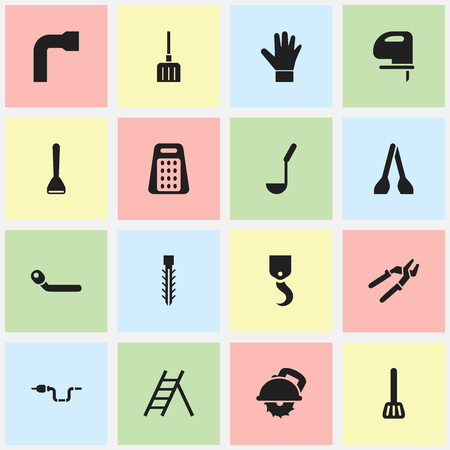 tack: Set Of 16 Editable Apparatus Icons. Includes Symbols Such As Press Instrument, Cutter Machine, Saw And More