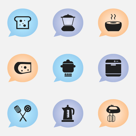 prepare: Set Of 9 Editable Cook Icons. Includes Symbols Such As Whisk, Prepare Meal, Cheddar And More