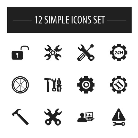 rackwheel: Set Of 12 Editable Tool Icons. Includes Symbols Such As Spanner, Gear, Build Equipment And More